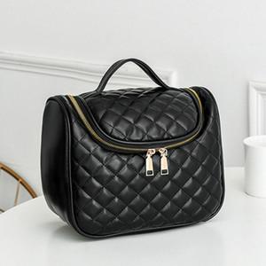 Nuevo estilo Plaid Suture Suture Cosmetic Bag Sheepskin Caviar Cadena Cartera Top Calidad Tote Casual Bolsas de almacenamiento Cuerpo de las mujeres