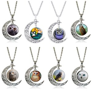 Owl Moon Time Gemstone Vintage Necklace Men and Women Pendants DMFN527 (with chain) mix order pieces Pendant Necklaces