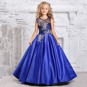 2021 Vintage Princess Ball Gowns Flower Girl Dresses for Weddings Lace Appliques Tulle Floor Length Puffy Girls Pageant dress