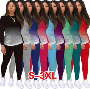 Talla grande Mujer Chándal Traje Gradiente Color Pullover Blusa Camisetas Tops y pantalones Medias Leggings Casual Two Piece Outfit Sports Trajes F92914