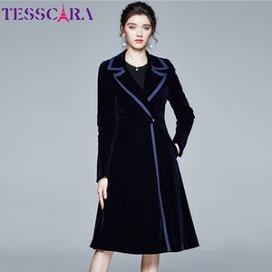 Tesscara mujeres otoño invierno largo elegante terciopelo thrench abrigo femenino de alta calidad vintage blazer diseñador ropa exterior abrigos 1031