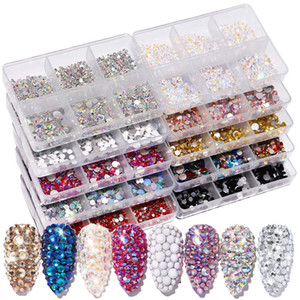 6Grids SS6-SS20 Crystal Nail Art Rhinestones Mixed Color Flat Bottom AB Porcelain White Champagne 3D Nails Decoration