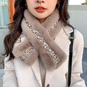 6Colors Autumn Winter Pearl cross Scarf Fashion Crochet Knitted Scarf Foulard Femme Faux Fur Collar Neck Warmer Scarves for Women