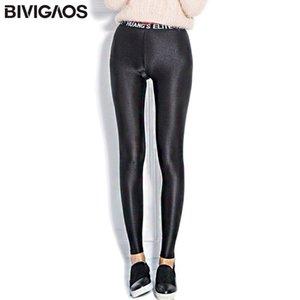 Bivigaos İlkbahar Yaz Bayan Harfler Parlak Tayt İnce Elastik Siyah Tayt Vücut Ince Parlaklık Pantolon Moda Egzersiz Tayt Y200904