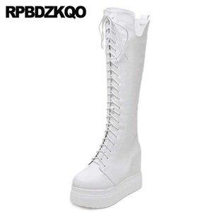 الأحذية الصينية النساء المتطرفة إسفين طويل القامة منصة بيضاء أحذية عالية الكعب في الركبة راقصة غريبة للماء السيدات سوداء صنم الدانتيل يصل