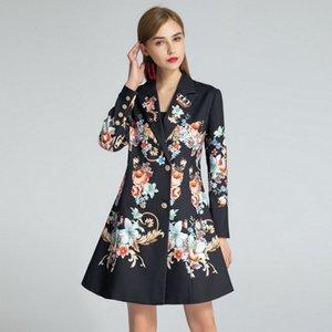 910 2020 Marca mismo estilo de vestir de manga larga para mujer de la solapa del cuello Ropa flora impresión de la manera de vestir encima de la capa de la rodilla vestido de lujo SH