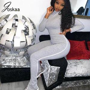 Joskaa autumn new solid turtleneck long sleeve split hem flare pants Zipper Tight Long skinny Sport Fitness women's Jumpsuit