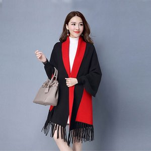 Mingjiebihuo new cashmere Poncho shawl with sleeves women in autumn and winter thick warm double-sided solid tassel cloak girls 201102