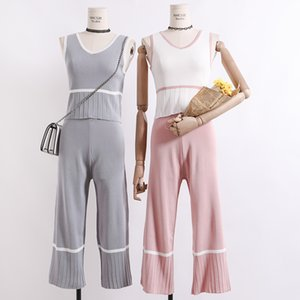 Amolapha Women Tank Tops+Wide Leg Pants Knitted 2pcs Clothing Casual Vest Jumper Tops+Pant Knitting Clothing Suits 201007