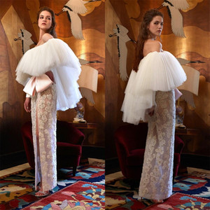 Off Shoulder A Line Prom Dresses with Wrap Lace Beaded Side Slit Formal Evening Gowns Ankle Lenth Party Celebrity Dress