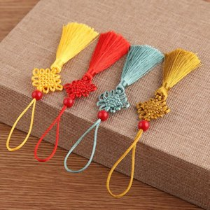 5 unids Beads Red Mini Knot Chino Tassel DIY Accesorios de Joyería DIY Hogar Textil Cortina Ropa Costura Macrame Decoración Colgante H JllnPV