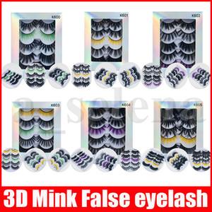 5Pairs / set 3d vison cílios olho cílios feitos artesanais cross extensões Maquiagem cor grossa cílios postianos full tira fita cílios falsos