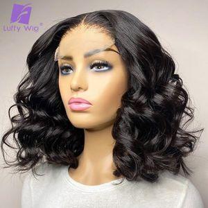 Loose Wave Short Bob Wig 5x5 Silk Base Scalp Top Wig Pre Plucked 4x4 Lace Closure Human Hair Wigs Remy Brazilian Hair Luffy