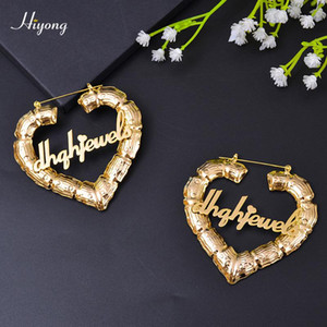 70 90mm Custom Earrings Love shape Hiphop Bamboo Hoop Earrings Customizable Heart Customize Name for Women Girls