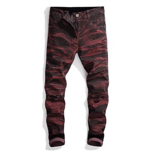 Men's Jeans Stretch Motorcycle Denim Pants Mens Embroidery Trousers