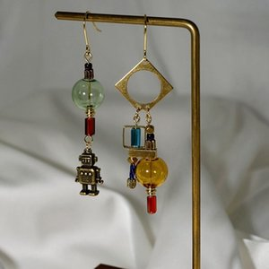 Original Industrial Robot Long Dangle Earrings For Women 2020 Retro Handmade Glass Ball Drop Asymmetric Earrings