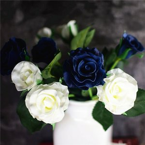 10 Real Touch Rose PU Rose Artificial Flowers Bridal Bouquets Bridesmaids Fake Flowers Party Home Wedding Decoration navy white 1026
