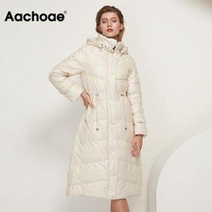 Женские пушистые Parkas Aa Aahoae Сплошное длинное белое утка пальто женщин зима сгущает повседневная рукава с капюшоном леди DrawString линейный пиджак