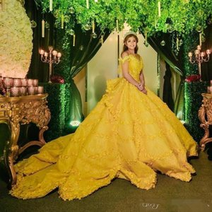 Vintage Yellow Quinceanera Dresses Floral Flowers Appliqued Court Train Off Shoulder Girl Formal Prom Party Gown Sweet 15 Dress Brithday 16