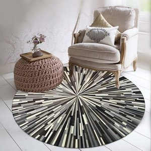 Round 3D Carpet Geometric Striped Rugs Back and White Gray Simple Abstract Pattern Mat for Study Living Room Bedroom