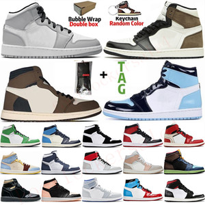 1s Light Smoke Chaussures de basket-ball baskets pour hommes Jumpman 1 High Travis Scott Racer Blue Mushroom kanye Sports Sneakers Taille Chaussures 36-47