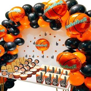 140pcs партии Balloon Arch Latex / Фольга Воздушные шары Баскетбол для вечеринок Kit Birthday Party украшения Дети / взрослых / мальчиков Y201020