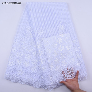 White Sequin African French Net Lace Fabric 2020 High Quality Tulle Mesh Lace Bridal Nigerian Wedding Dress Lace For Woman S2042