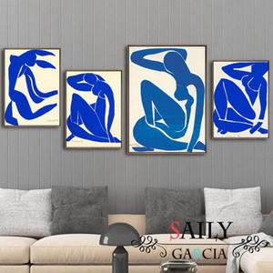 Аннотация Домашнее украшение на холсте Картина Французский Henri Matisse голубой Nude Плакаты HD печати Wall Picture For Living Room 8voR #