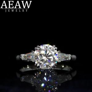 AEAW DOBLE CLAW1.0CT 6.5MM Corte redondo 10k 14k Oro blanco Dorado de oro D Gold D Moissanite Anillo original Dazzling Jewelry T200718