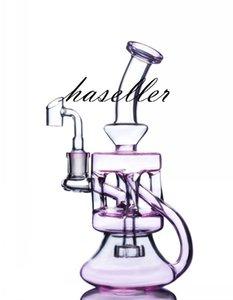 핑크 유리 봉 기능 워터 파이프 두꺼운 유리 물 봉지 흡연 액세서리 DAB 조작 기름 Reclaimwith 14mm Banger
