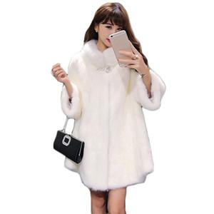 White Irregular Faux Mink Fur Coat Women Black Pink New Winter Fashion Stand Collar Thick Warmth Jacket Feminina T200915