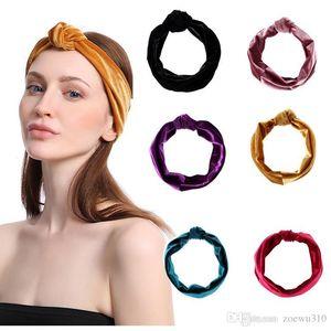 Women Solid Color Cross Headband Sports Yoga Handmade Elastic Wide Hair Band Female Wash Face Hairband Fashion Retro Headband VF1518 T03