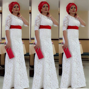 2021 White Lace Nigeria Evening Dress Aso Ebi Style South African Mermaid Evening Gowns Plus Size Formal Party Dress Custom Made