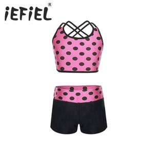 iEFiEL Kids Children Girls Dancewear Clothes Girls Tankini Polka Dots Tank Top with Bottoms for Ballet Dance Perform Gym Workout