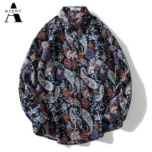 T-shirt Ajzhy Vintage Hommes Épaisses Paisley Motifs Tricotés National Style Bouton Harajuku Street Casual Streetwear Tees à manches longues Tops Q1231