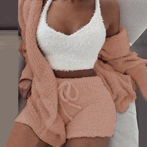 3 Plush Tracksuit Women Pieces Set Sweatshirts Sweatpants Sweatsuit Jacket Crop Top Shorts Suit Sports Suit Jogging Femme 2020 New