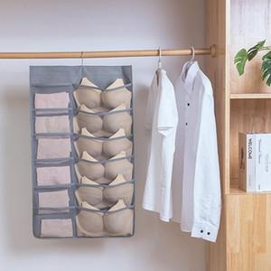 Closet Hanging Bra Organizer With Mesh Pockets & Metal HangerDual Sided Wall Shelf Wardrobe Storage Bags Cloth Space Saver Bag1