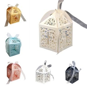 Favor Candy Boxes With Ribbon Cross Hollow Paper Gift Box For Wedding Party 50pcs Paper boxes