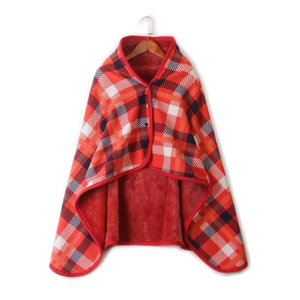 Fleece material striped plaid shawl Lazy blanket multifunctional moisture absorption and heating cover blanket flannel shawl blanket