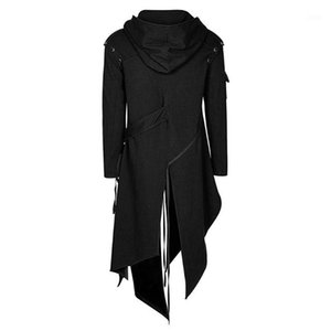 Men Long Sleeve Steampunk Victorian Jacket Gothic Belt Swallow-Tail Coat Cosplay Costume Vintage Long Punk Outfit Winter Coat1