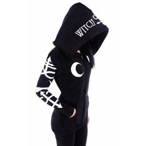Rosetic Goth Hooded Black Hoodie Women Gothic Casual Moon Print Chic Black Hoodies Plus Size Fashion Streetwear Sweatshirt 201008