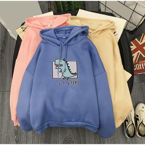 Dinosaur Printed Fleece Women's Hoodie Sweatshirt Long Sleeve Harajuku Hooded Women Hoody Spring Autumn Sweet Pullover Femme 201020
