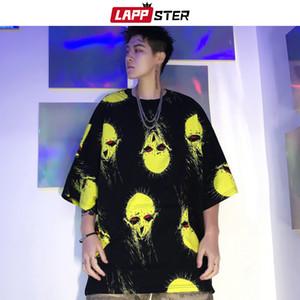 LAPPSTER Alien lustige T-Shirt Harajuku 2020 Sommer-Top Men Street Hip Hop Maxi-T-Shirt Designer O-Ansatz Red Tees Fashions 1005