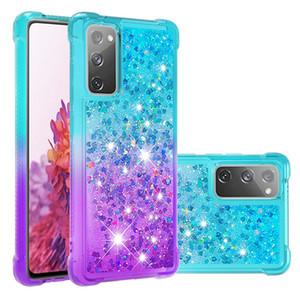 Glitter Gradual Phone Case para Samsung Galaxy s20 Lite s10 mais anti-queda tampa areia movediça líquido para Samsung Nota 20 ultra-A71 A51 A21