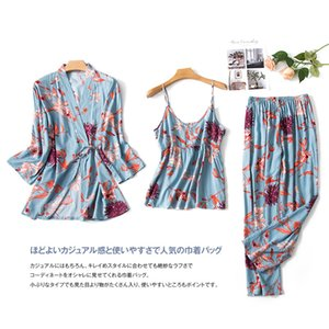 JULY'S SONG 3 PCS Floral Printed Pajamas Sets Viscose Soft Sleepwear Elegant Robe Sexy Sling Pants Homewear Female Pyjamas 201113
