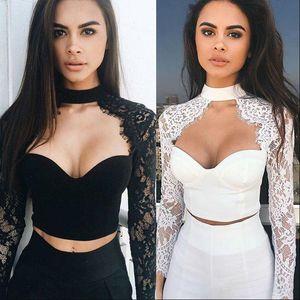 2021 New Fashion Sexy Women See through Lace Mesh Sheer Long Sleeve Crop Top Shirt Blouse CH