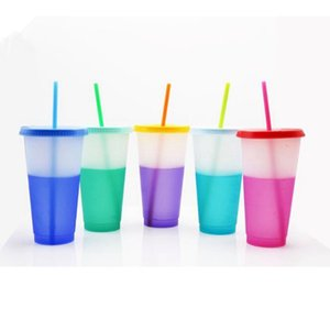 10 Styles 24oz Color Changing Cup Magic Plastic Drinking Tumblers with Lid and Straw Reusable Candy Colors Cold Cup Water Bottle CYZ2876