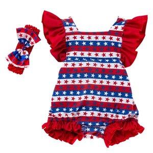 الرضع مخطط السروال القصير 4 يوليو العلم الأميركي المطبوعة الاستقلال الوطني يوم الكشكشة رومبير اليوم الوطني ملابس اطفال القوس العصابة 060425