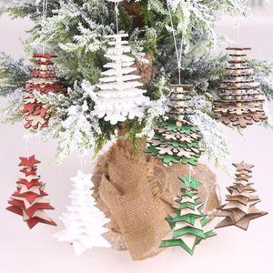 Рождественские украшения творческие 3d деревянные красочные пентаграммы снежинки струны украшения деревьев висит кулон декор для дома Navidad 20211