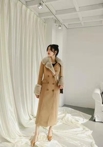 women winter wool coat luxury designer womens faux fur coat long trench jacket high waist british style woollen jackets gf gift